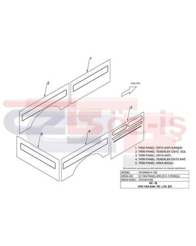 HYUNDAI H100 INTERIOR SIDE PANEL SET 5 PCS